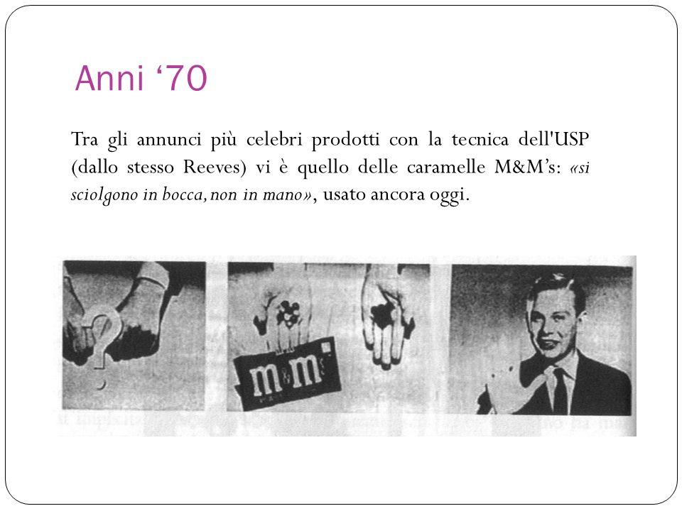 Anni 70 Tra gli annunci più celebri prodotti con la tecnica dell'USP (dallo stesso Reeves) vi è quello delle caramelle M&Ms: «si sciolgono in bocca, n