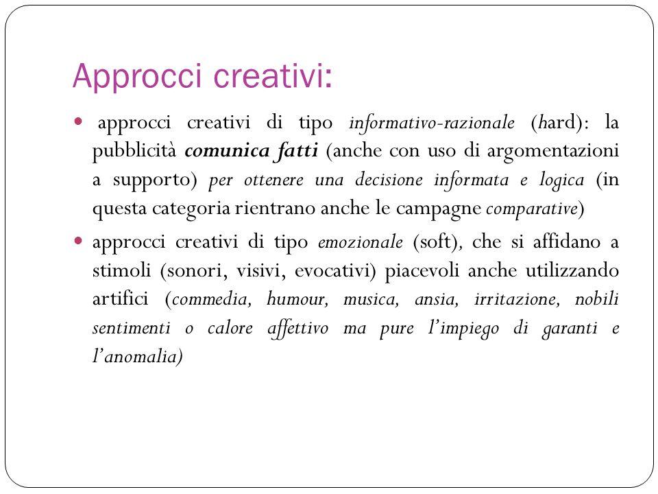 Approcci creativi: approcci creativi di tipo informativo-razionale (hard): la pubblicità comunica fatti (anche con uso di argomentazioni a supporto) p
