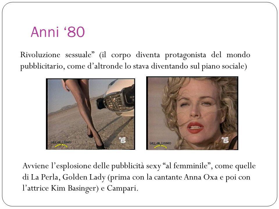 Anni 80 Rivoluzione sessuale (il corpo diventa protagonista del mondo pubblicitario, come daltronde lo stava diventando sul piano sociale) Avviene les