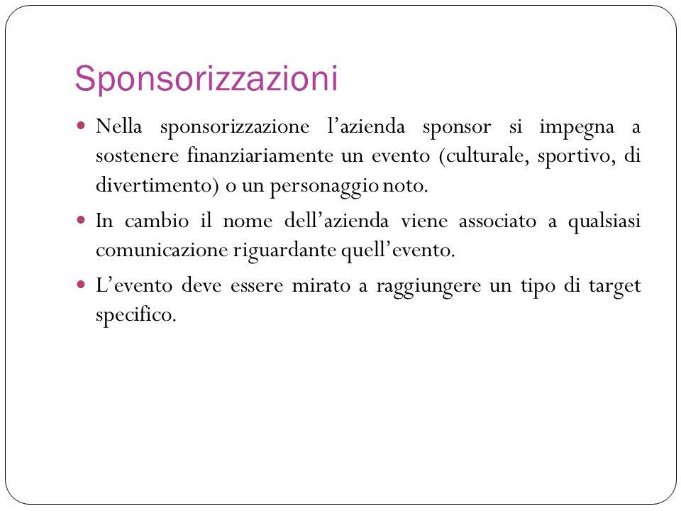 Sponsorizzazioni Nella sponsorizzazione lazienda sponsor si impegna a sostenere finanziariamente un evento (culturale, sportivo, di divertimento) o un