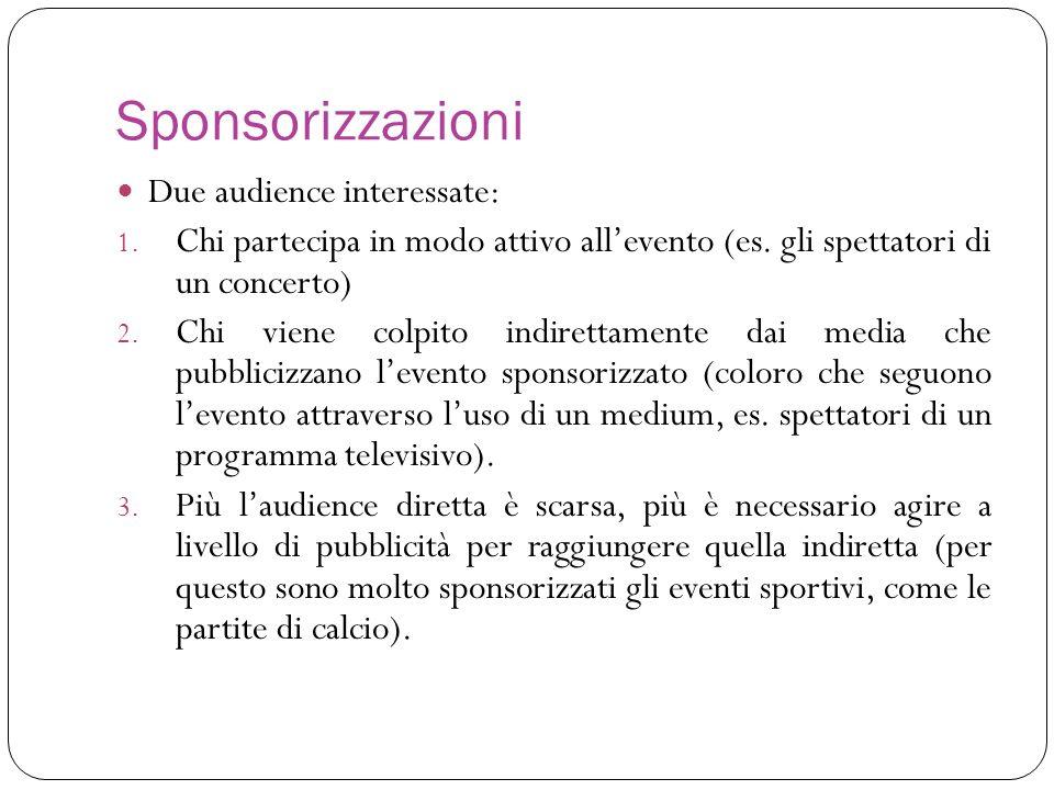 Sponsorizzazioni Due audience interessate: 1. Chi partecipa in modo attivo allevento (es. gli spettatori di un concerto) 2. Chi viene colpito indirett