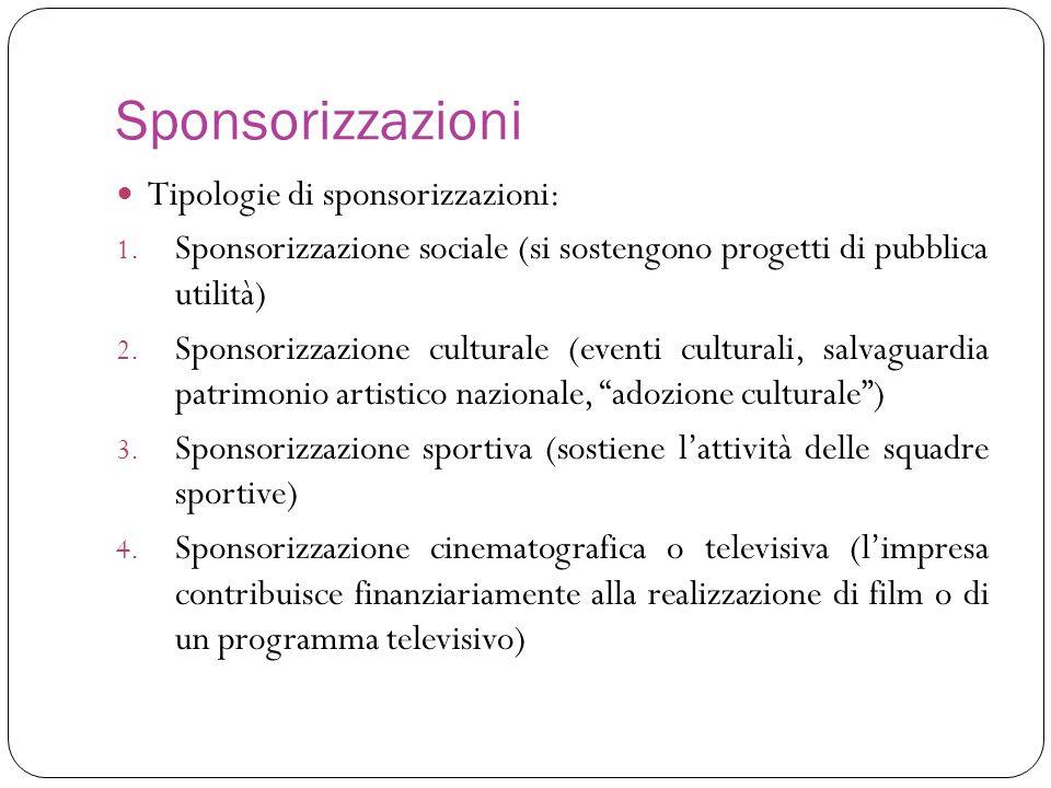 Sponsorizzazioni Tipologie di sponsorizzazioni: 1. Sponsorizzazione sociale (si sostengono progetti di pubblica utilità) 2. Sponsorizzazione culturale