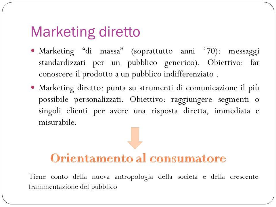 Marketing diretto Marketing di massa (soprattutto anni 70): messaggi standardizzati per un pubblico generico). Obiettivo: far conoscere il prodotto a