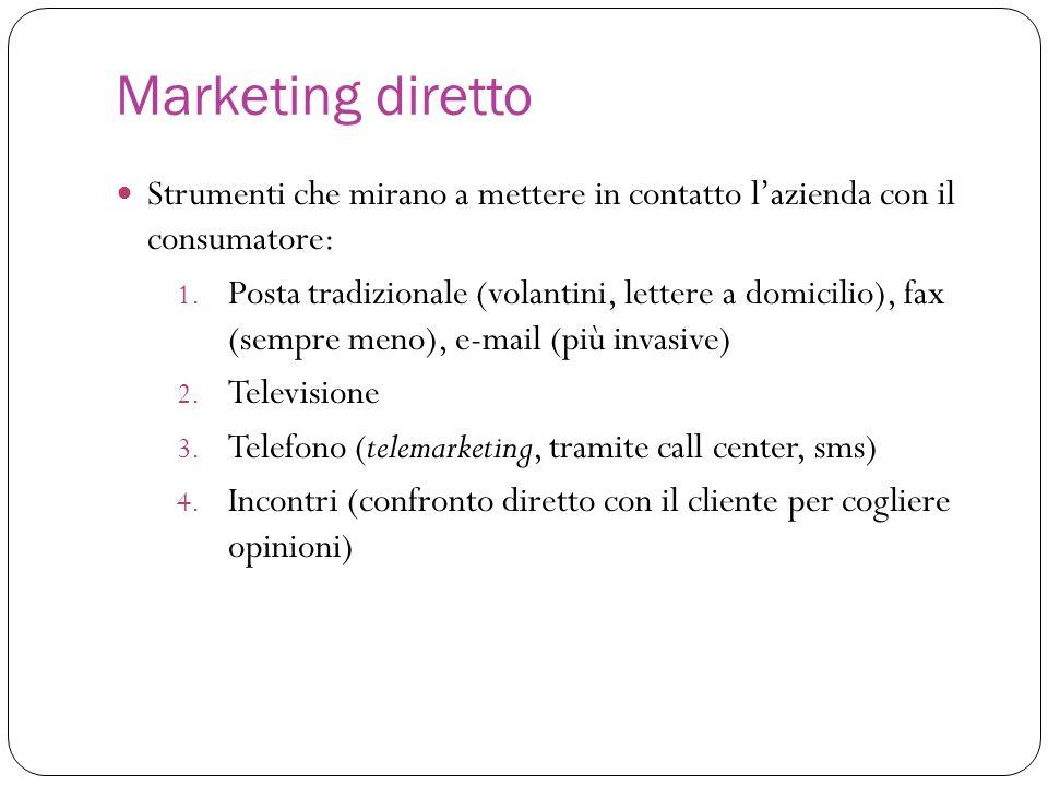 Marketing diretto Strumenti che mirano a mettere in contatto lazienda con il consumatore: 1. Posta tradizionale (volantini, lettere a domicilio), fax