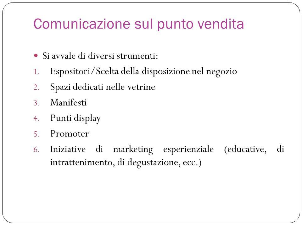 Comunicazione sul punto vendita Si avvale di diversi strumenti: 1. Espositori/Scelta della disposizione nel negozio 2. Spazi dedicati nelle vetrine 3.