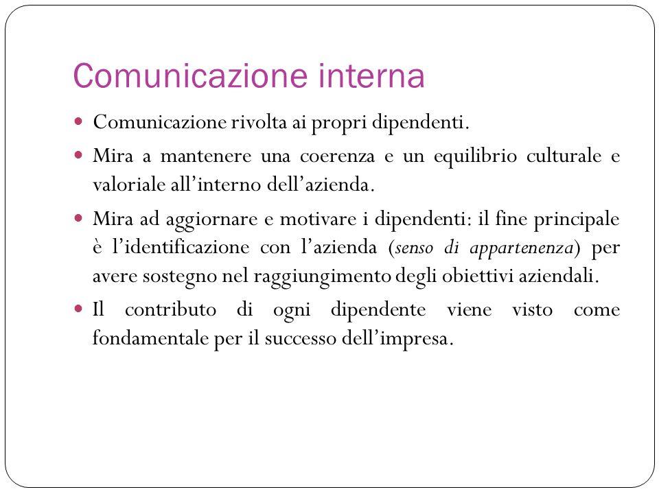 Comunicazione rivolta ai propri dipendenti. Mira a mantenere una coerenza e un equilibrio culturale e valoriale allinterno dellazienda. Mira ad aggior