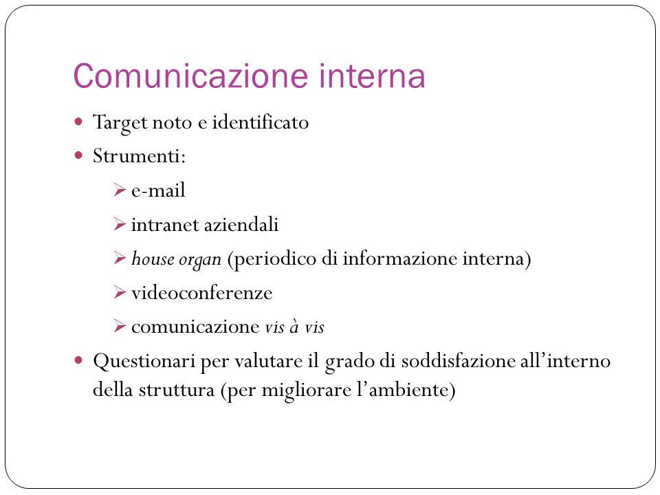 Target noto e identificato Strumenti: e-mail intranet aziendali house organ (periodico di informazione interna) videoconferenze comunicazione vis à vi
