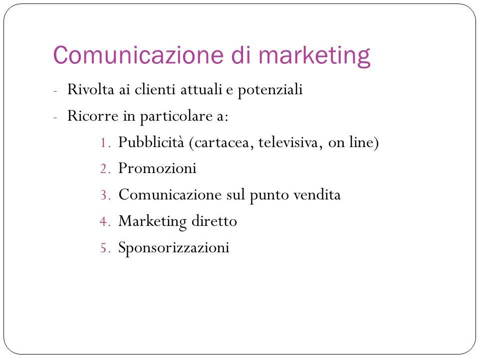 - Rivolta ai clienti attuali e potenziali - Ricorre in particolare a: 1. Pubblicità (cartacea, televisiva, on line) 2. Promozioni 3. Comunicazione sul