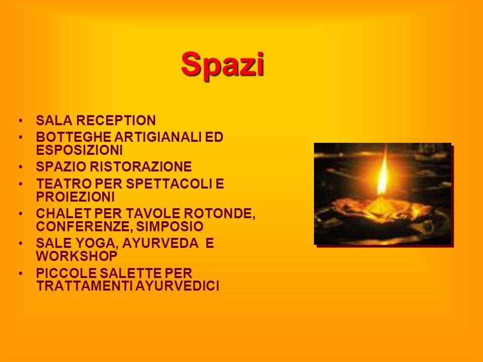 Spazi SALA RECEPTION BOTTEGHE ARTIGIANALI ED ESPOSIZIONI SPAZIO RISTORAZIONE TEATRO PER SPETTACOLI E PROIEZIONI CHALET PER TAVOLE ROTONDE, CONFERENZE,