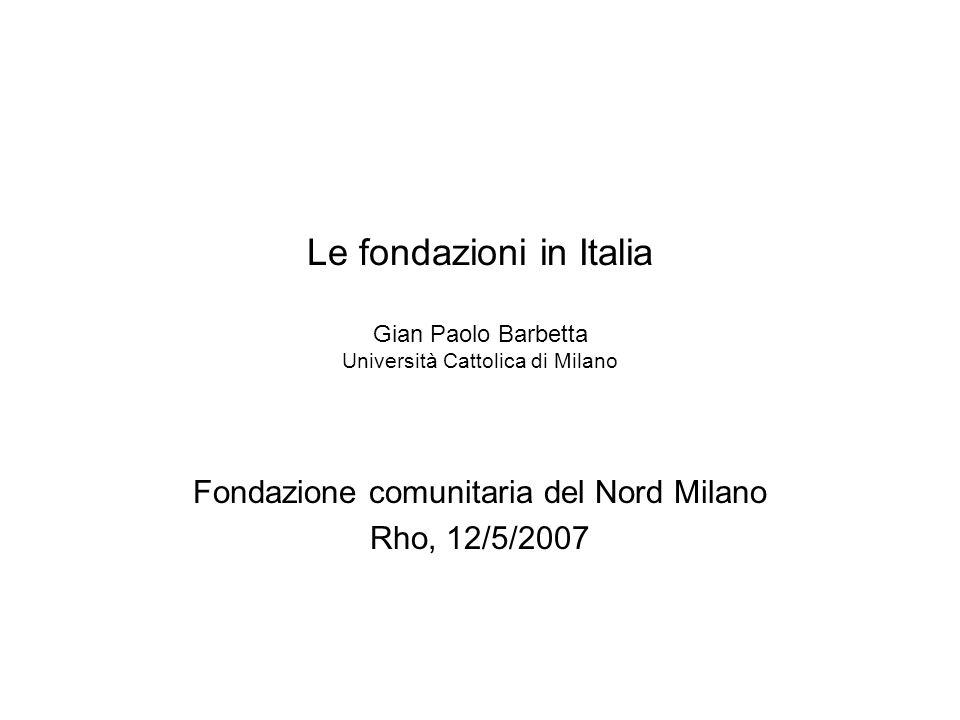 Le fondazioni in Italia Gian Paolo Barbetta Università Cattolica di Milano Fondazione comunitaria del Nord Milano Rho, 12/5/2007
