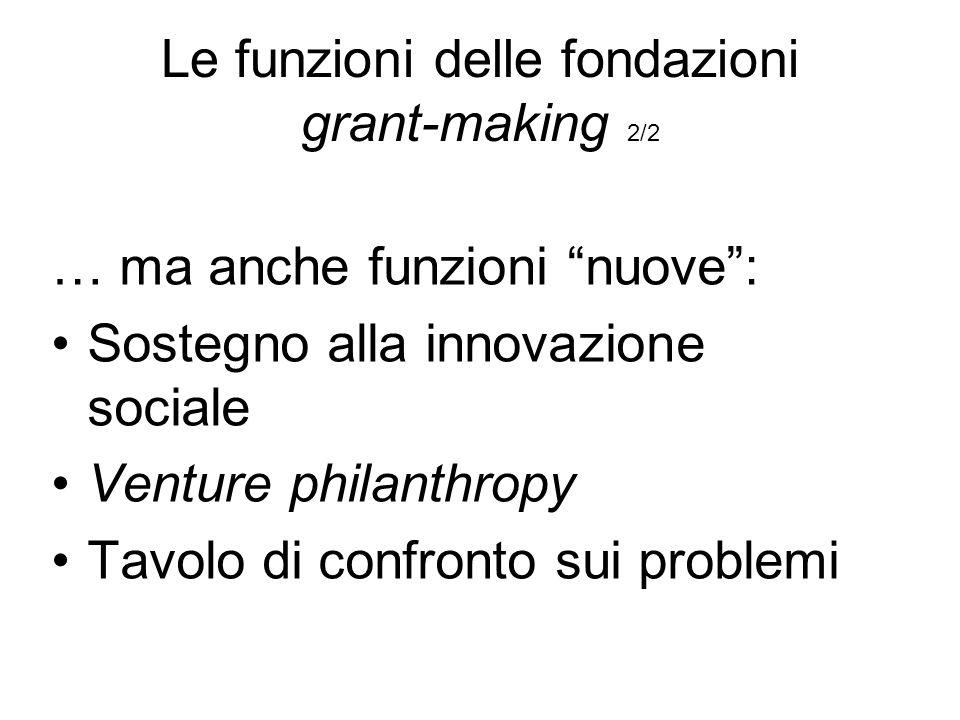 Le funzioni delle fondazioni grant-making 2/2 … ma anche funzioni nuove: Sostegno alla innovazione sociale Venture philanthropy Tavolo di confronto sui problemi