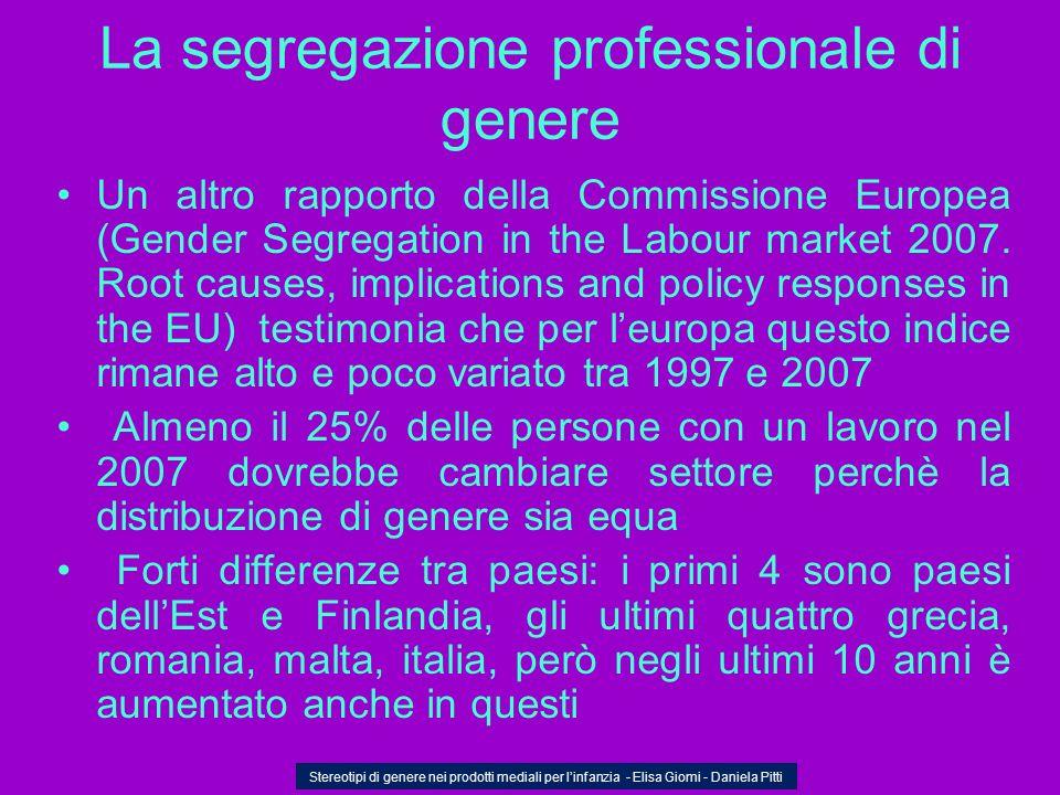 La segregazione professionale di genere Un altro rapporto della Commissione Europea (Gender Segregation in the Labour market 2007. Root causes, implic