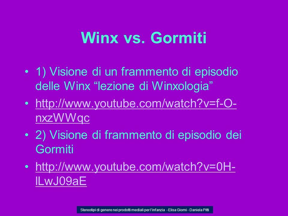Winx vs. Gormiti 1) Visione di un frammento di episodio delle Winx lezione di Winxologia http://www.youtube.com/watch?v=f-O- nxzWWqchttp://www.youtube