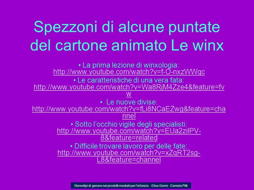 Spezzoni di alcune puntate del cartone animato Le winx La prima lezione di winxologia: http://www.youtube.com/watch?v=f-O-nxzWWqc http://www.youtube.c