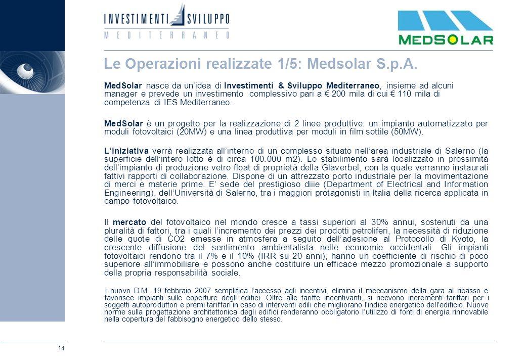 14 Le Operazioni realizzate 1/5: Medsolar S.p.A. MedSolar nasce da unidea di Investimenti & Sviluppo Mediterraneo, insieme ad alcuni manager e prevede