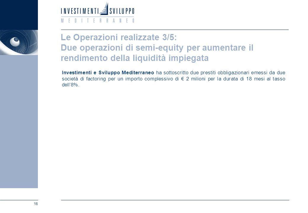 16 Le Operazioni realizzate 3/5: Due operazioni di semi-equity per aumentare il rendimento della liquidità impiegata Investimenti e Sviluppo Mediterra