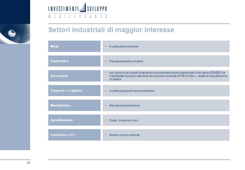 26 Settori industriali di maggior interesse In particolare maschile Moda Prevalentemente a motore Cantieristica sia costruzione di parti di aeroplano