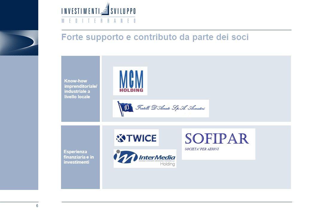 6 Forte supporto e contributo da parte dei soci Know-how imprenditoriale/ industriale a livello locale Esperienza finanziaria e in investimenti SOFIPA