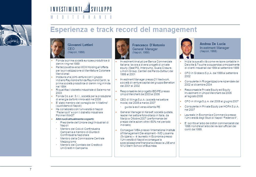 7 Esperienza e track record del management Fonda la prima società europea produttrice di denim ring nel 1989 Partecipa attraverso MCM Holding alloffer