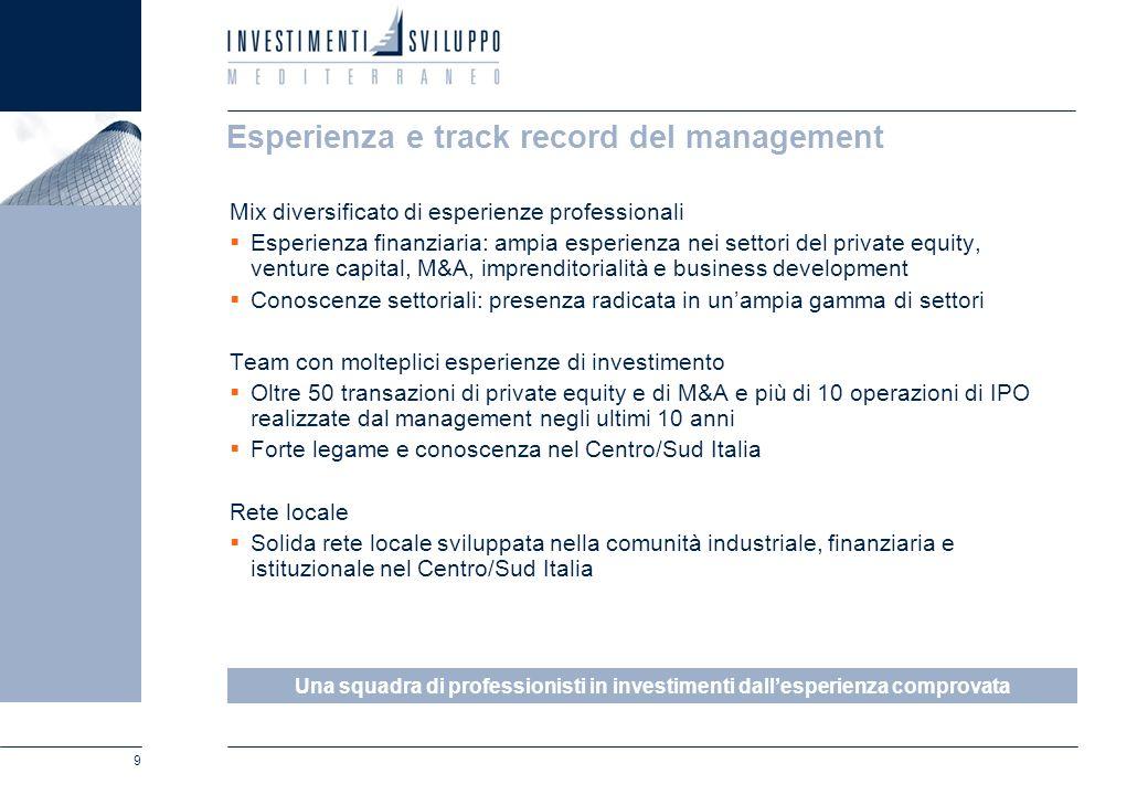 9 Esperienza e track record del management Mix diversificato di esperienze professionali Esperienza finanziaria: ampia esperienza nei settori del priv