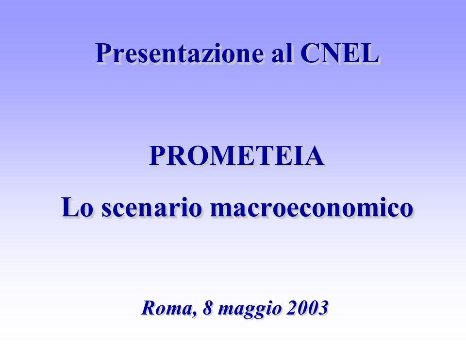 Presentazione al CNEL PROMETEIA Lo scenario macroeconomico Roma, 8 maggio 2003