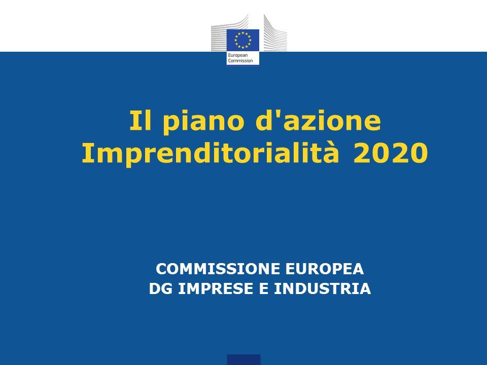 Imprenditorialità 2020 Obiettivo: Rilanciare lo spirito imprenditoriale in Europa Contesto: Europa 2020 – crescita e maggiore occupazione Comunicazione sulla Politica Industriale– economia reale Necessità di azioni congiunte: UE + Stati Membri, tutti i livelli, impegno di lungo termine per un impatto profondo e duraturo.
