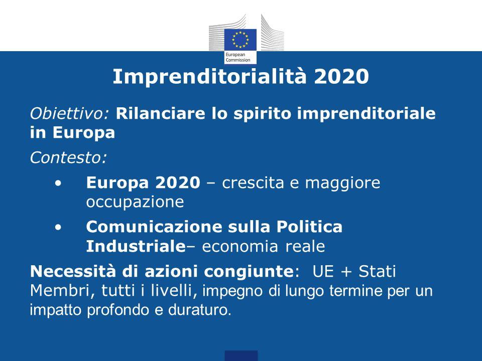 Imprenditorialità 2020 Obiettivo: Rilanciare lo spirito imprenditoriale in Europa Contesto: Europa 2020 – crescita e maggiore occupazione Comunicazion