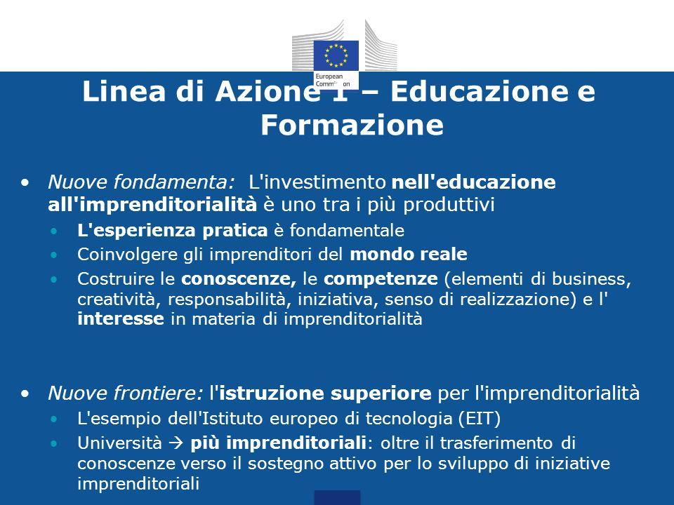 Linea di Azione 1 – Educazione e Formazione Nuove fondamenta: L'investimento nell'educazione all'imprenditorialità è uno tra i più produttivi L'esperi