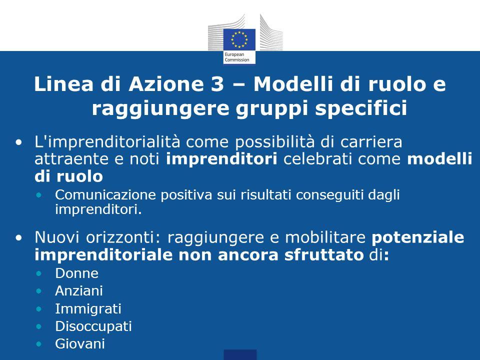 Linea di Azione 3 – Modelli di ruolo e raggiungere gruppi specifici L'imprenditorialità come possibilità di carriera attraente e noti imprenditori cel