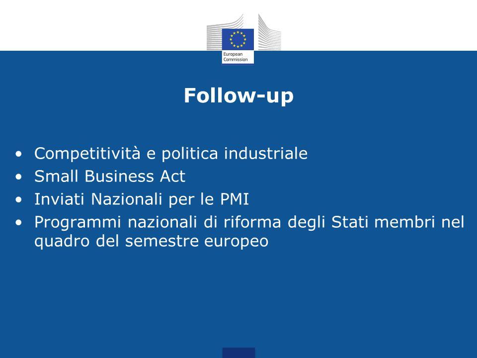 Follow-up Competitività e politica industriale Small Business Act Inviati Nazionali per le PMI Programmi nazionali di riforma degli Stati membri nel q