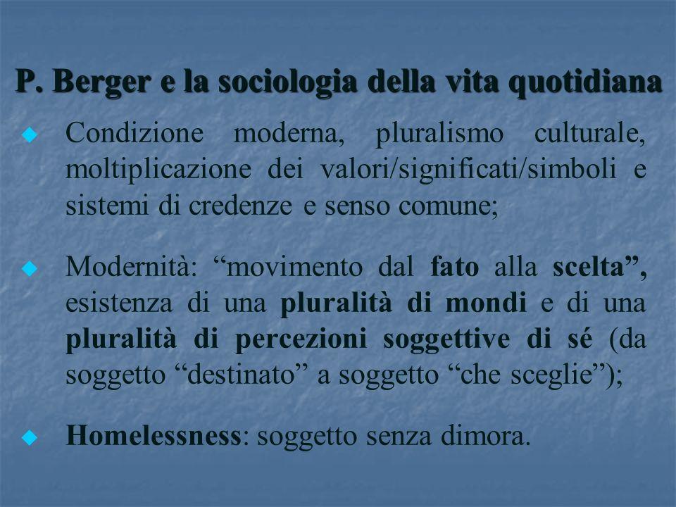 P. Berger e la sociologia della vita quotidiana u u Condizione moderna, pluralismo culturale, moltiplicazione dei valori/significati/simboli e sistemi