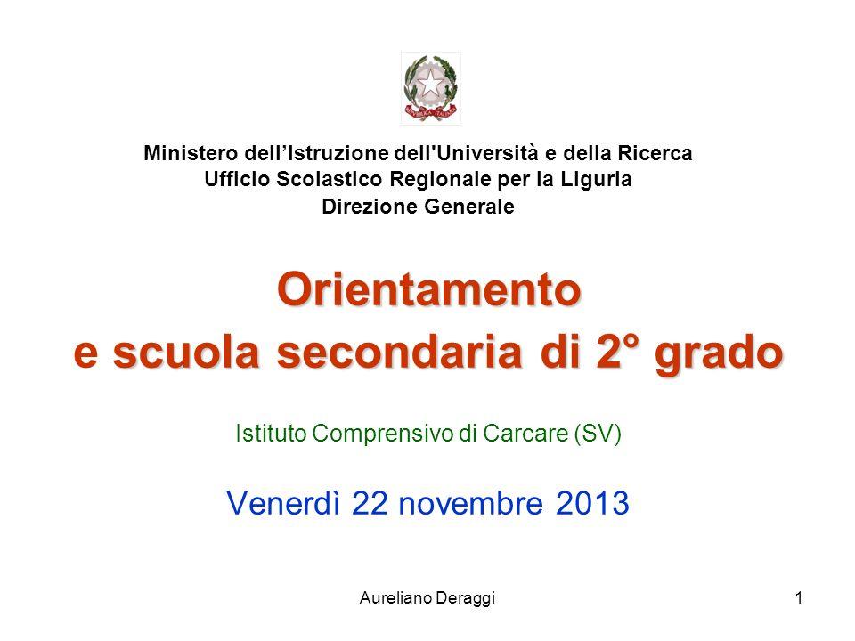 Aureliano Deraggi1 Ministero dellIstruzione dell'Università e della Ricerca Ufficio Scolastico Regionale per la Liguria Direzione Generale Orientament
