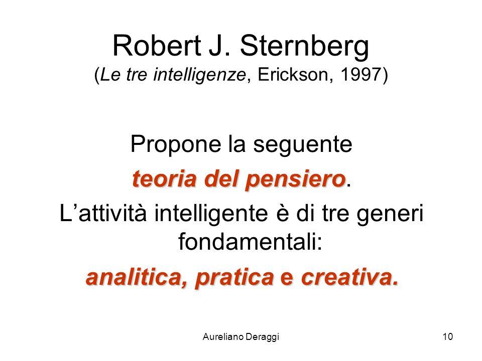 Aureliano Deraggi10 Robert J. Sternberg (Le tre intelligenze, Erickson, 1997) Propone la seguente teoria del pensiero teoria del pensiero. Lattività i