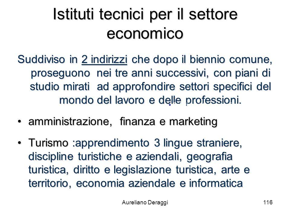 Aureliano Deraggi116 Istituti tecnici per il settore economico Suddiviso in 2 indirizzi che dopo il biennio comune, proseguono nei tre anni successivi
