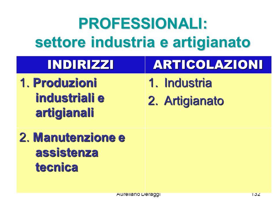 Aureliano Deraggi132 PROFESSIONALI: settore industria e artigianato INDIRIZZIARTICOLAZIONI 1. Produzioni industriali e artigianali 1.Industria 2.Artig