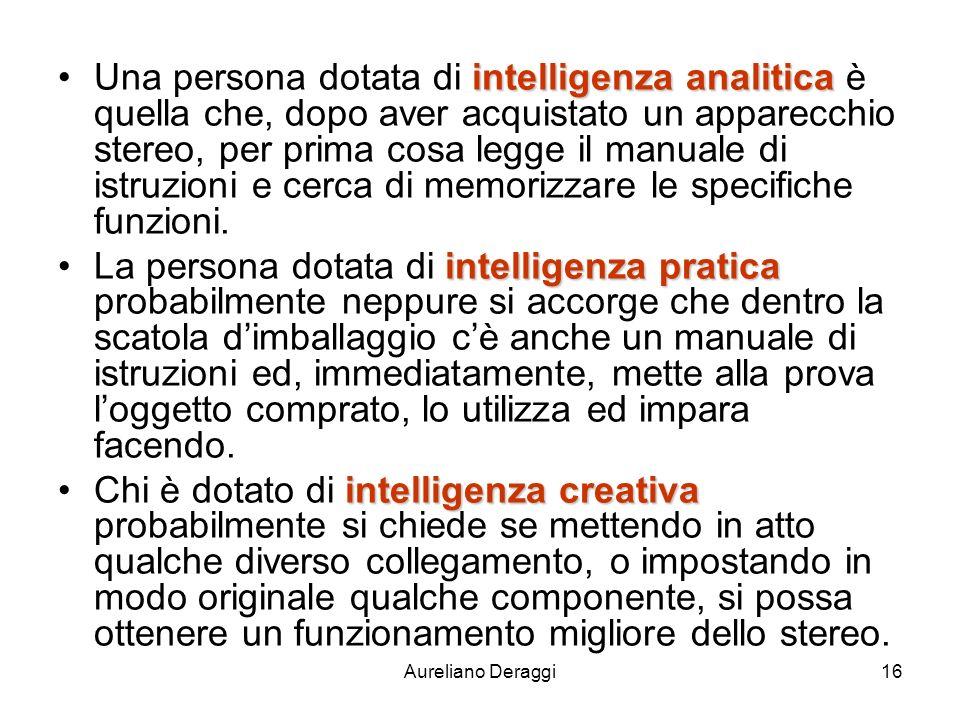 Aureliano Deraggi16 intelligenza analiticaUna persona dotata di intelligenza analitica è quella che, dopo aver acquistato un apparecchio stereo, per p