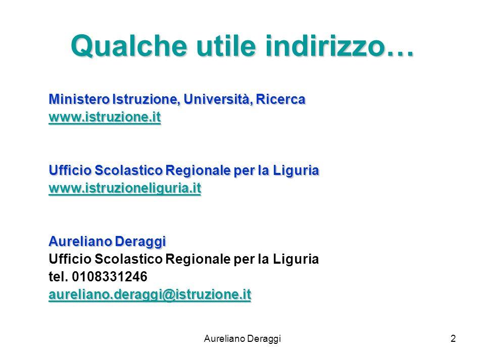 Aureliano Deraggi2 Qualche utile indirizzo… Ministero Istruzione, Università, Ricerca www.istruzione.it Ufficio Scolastico Regionale per la Liguria ww