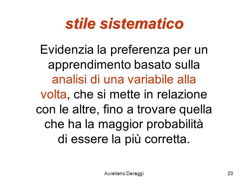 Aureliano Deraggi20 stile sistematico Evidenzia la preferenza per un apprendimento basato sulla analisi di una variabile alla volta, che si mette in r