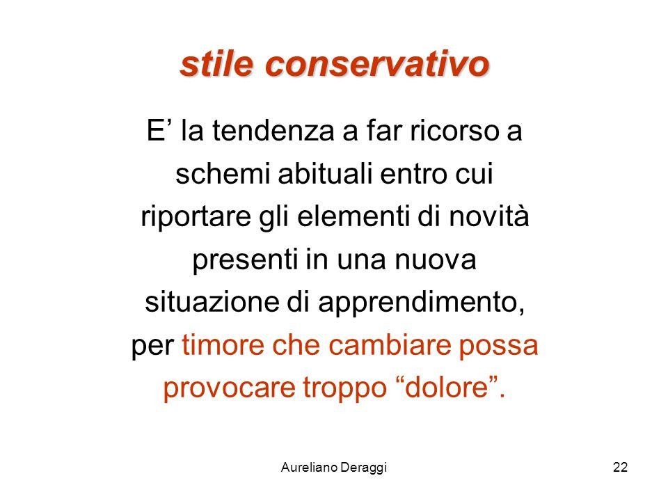 Aureliano Deraggi22 stile conservativo E la tendenza a far ricorso a schemi abituali entro cui riportare gli elementi di novità presenti in una nuova