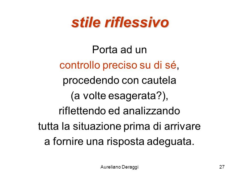 Aureliano Deraggi27 stile riflessivo Porta ad un controllo preciso su di sé, procedendo con cautela (a volte esagerata?), riflettendo ed analizzando t