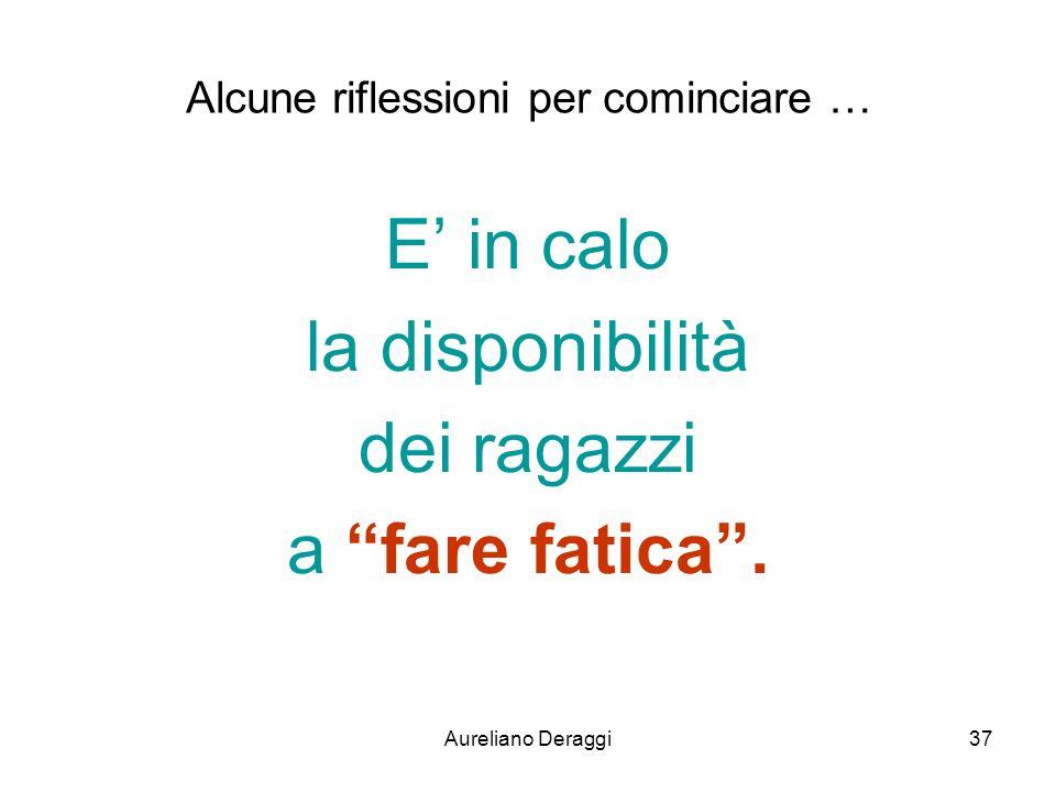 Aureliano Deraggi37 Alcune riflessioni per cominciare … E in calo la disponibilità dei ragazzi a fare fatica.