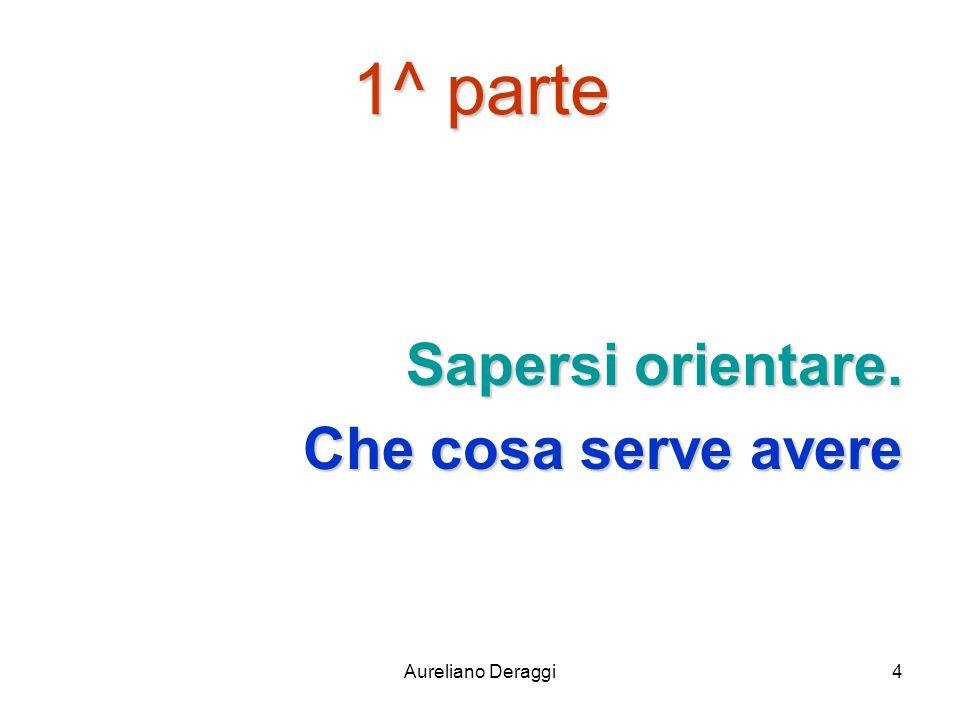 Aureliano Deraggi4 1^ parte Sapersi orientare. Che cosa serve avere