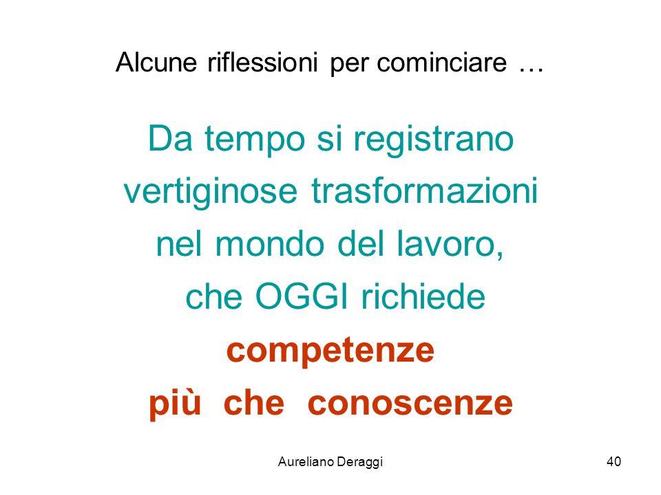 Aureliano Deraggi40 Alcune riflessioni per cominciare … Da tempo si registrano vertiginose trasformazioni nel mondo del lavoro, che OGGI richiede comp