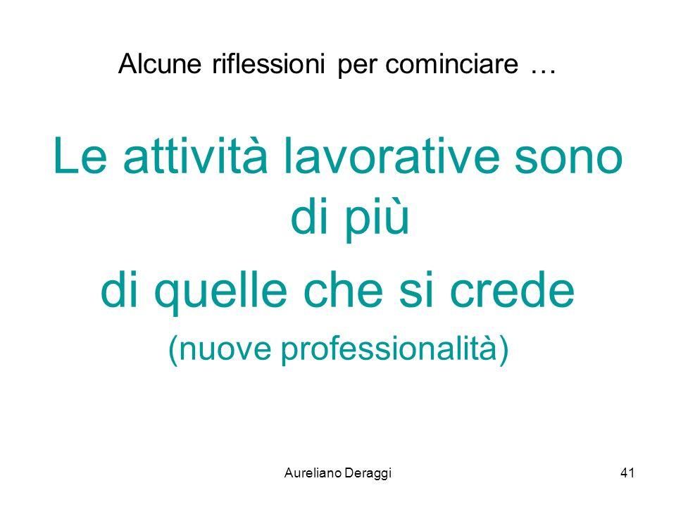 Aureliano Deraggi41 Alcune riflessioni per cominciare … Le attività lavorative sono di più di quelle che si crede (nuove professionalità)