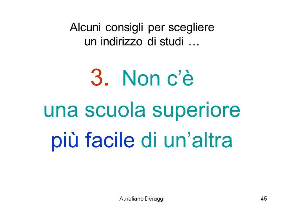 Aureliano Deraggi45 Alcuni consigli per scegliere un indirizzo di studi … 3. Non cè una scuola superiore più facile di unaltra