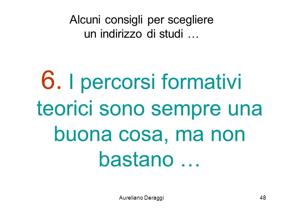 Aureliano Deraggi48 Alcuni consigli per scegliere un indirizzo di studi … 6. I percorsi formativi teorici sono sempre una buona cosa, ma non bastano …