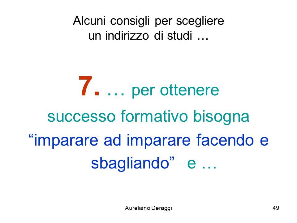 Aureliano Deraggi49 Alcuni consigli per scegliere un indirizzo di studi … 7. … per ottenere successo formativo bisogna imparare ad imparare facendo e