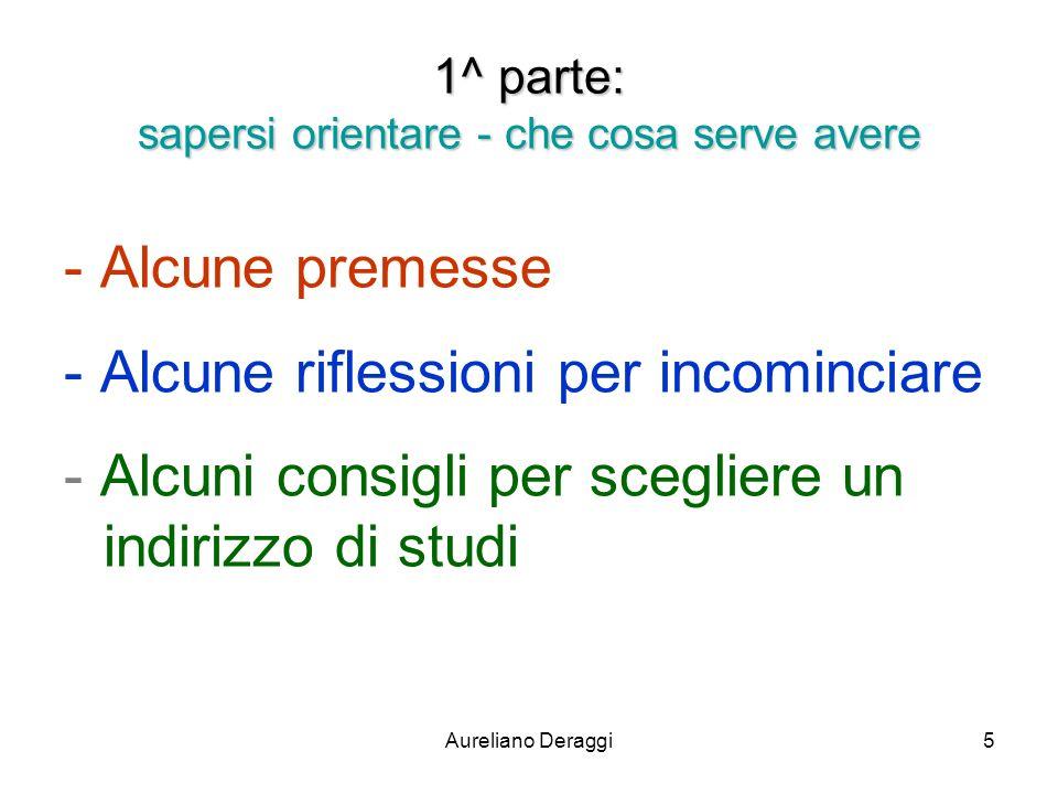 Aureliano Deraggi5 1^ parte: sapersi orientare - che cosa serve avere - Alcune premesse - Alcune riflessioni per incominciare - Alcuni consigli per sc