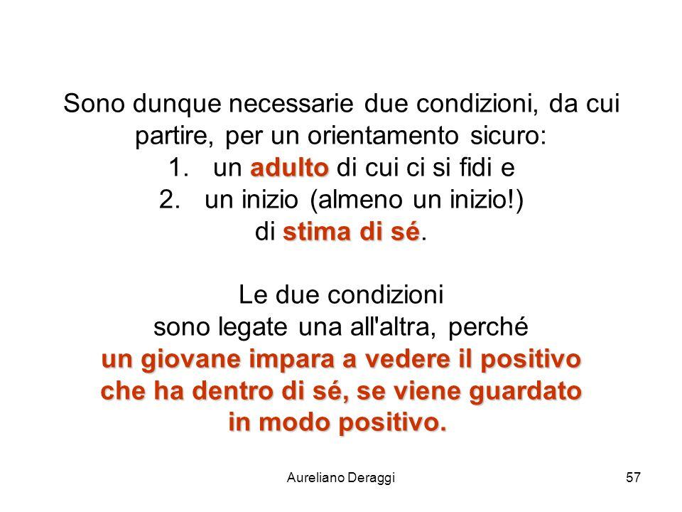 Aureliano Deraggi57 Sono dunque necessarie due condizioni, da cui partire, per un orientamento sicuro: adulto 1.un adulto di cui ci si fidi e 2.un ini