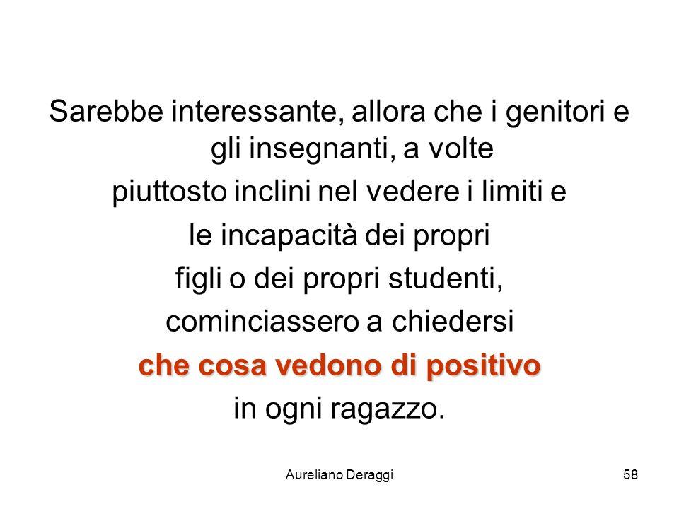 Aureliano Deraggi58 Sarebbe interessante, allora che i genitori e gli insegnanti, a volte piuttosto inclini nel vedere i limiti e le incapacità dei pr